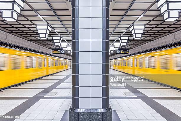 Germany, Berlin, subway station Paracelsiusbad with moving underground train