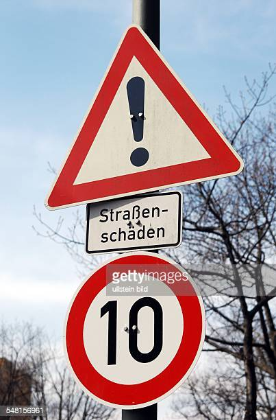 Germany Berlin Tempelhof - speed limit 10 km / h because of the road holes at Arnulfstrasse