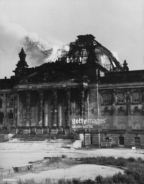 Germany Berlin The burning cupola of the Reichstag after a detonation