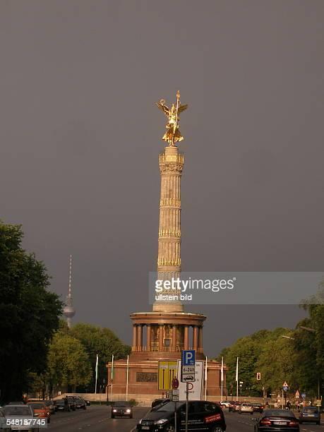 Germany Berlin Tiergarten - The reconstructed victory column 'Siegesaeule' in the evening.