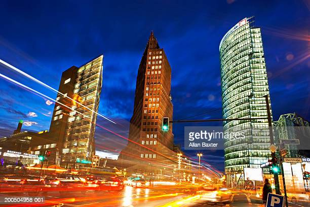 Germany, Berlin, traffic and skyscrapers, night (long exposure)