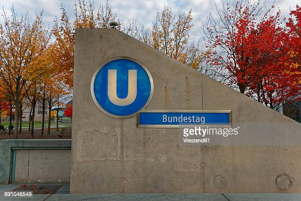 germany, berlin, underground station 'bundestag' - letter u stock photos and pictures