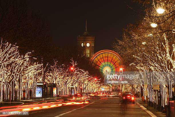 Germany, Berlin, Unter den Linden, Boulevard with illuminated trees