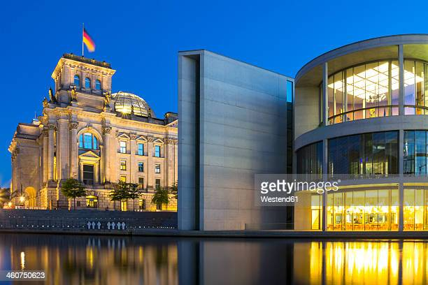 Germany, Berlin, View of Reichstag and Paul Loebe House at dusk