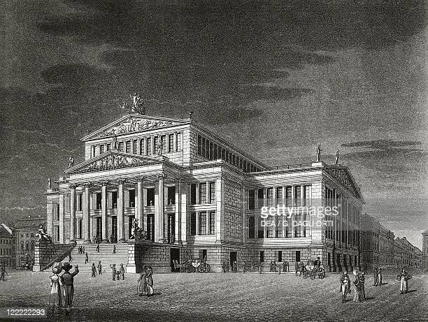 Germany Berlin View of the Schauspielhaus engraving by Karl Friedrich Schinkels