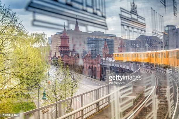 germany, berlin, view out of a subway train crossing the oberbaumbruecke - kreuzberg stock photos and pictures