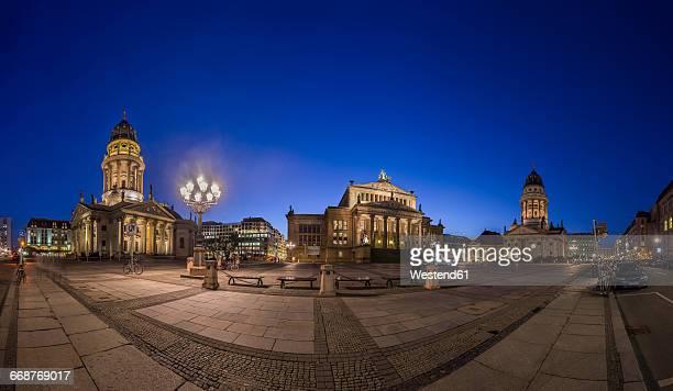 germany, berlin, view to gendarmenmarkt by night - gendarmenmarkt stock photos and pictures
