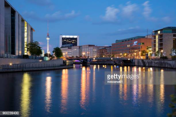 germany, berlin, view to marie-eisabeth-lueders-building, television tower and ard capital studio - ard blue hour stock-fotos und bilder