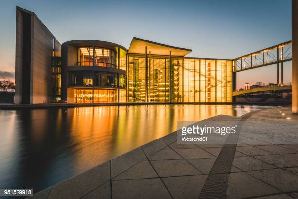 germany, berlin, view to reichstag and paul loebe house at sunset - bundestag stock pictures, royalty-free photos & images