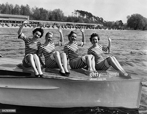 Germany Berlin Wannsee Lido Women in historic swim suits on the occasion of the 50th anniversary of the lido Spring 1957