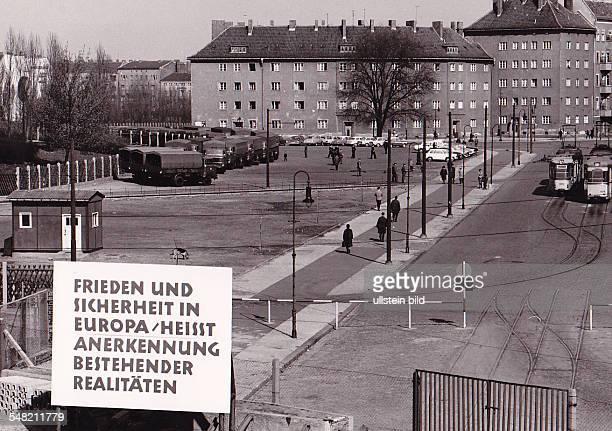 Germany Berlin Wedding - Berlin Wall at Eberswalder Strasse. View from Bernauer Strasse in West Berlin directio East Berlin