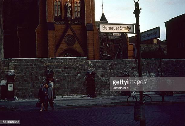 Germany Berlin Wedding Bernauer Strasse view to the Berlin Wall and the Versoehnungskirche 1961