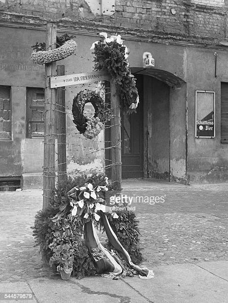 Germany Berlin Wedding Memorial cross for Ida SiekmannIn the year 1961 she jumped out of a window in the 3rd floor of a house at Bernauer Strasse and...