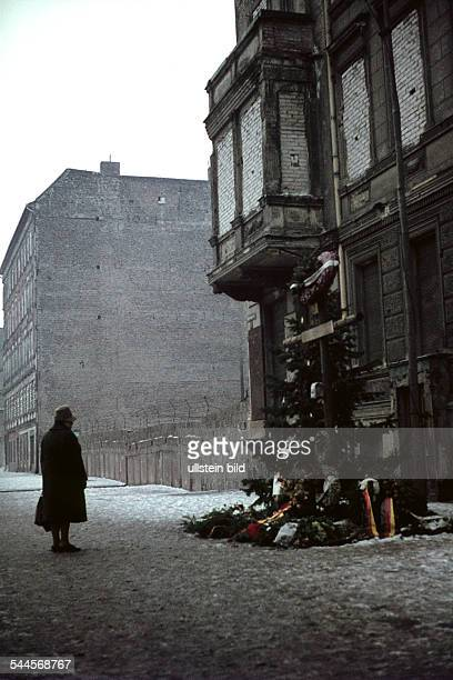 Germany Berlin Wedding The Berlin Wall Bernauer Strasse the memorial for Ida Siekmann died after she jumped out of a window 1962