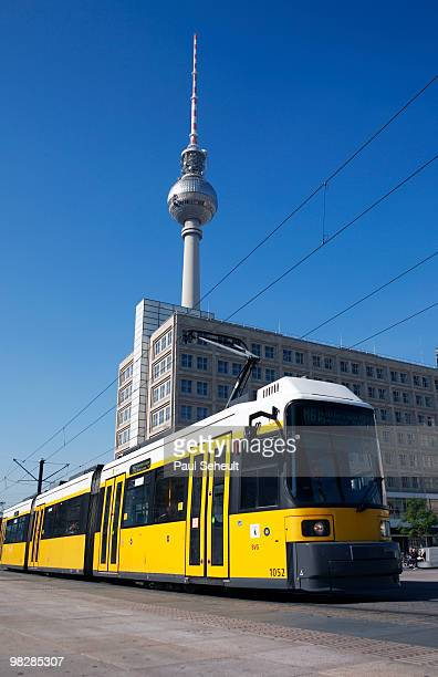 Germany, Berlin, Yellow tram with TV tower in background