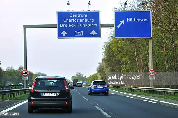 Germany Berlin Zehlendorf - motorway A115, exit Huettenweg - speed limit because of the damaged bridge