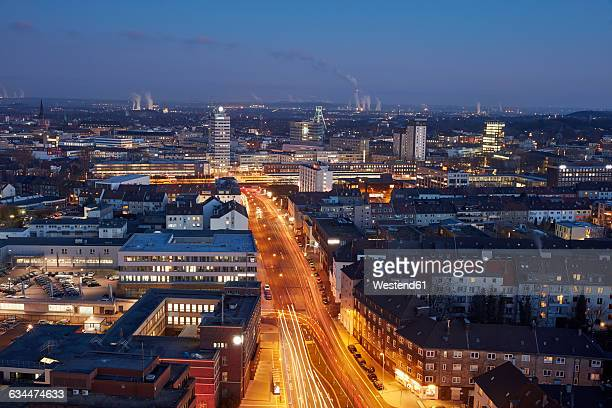 Germany, Bochum, cityscape in the evening