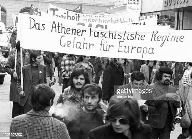 Greeks and Germans demonstrated on March 10, 1973 in Bonn against the Greek military junta and for freedom in Greece. _