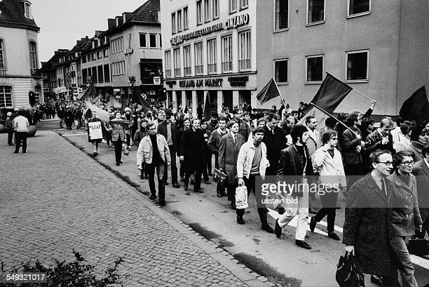 Germany Bonn May 1968 'March to Bonn' demonstration against the German Emergency Acts protesters marching through Bonn