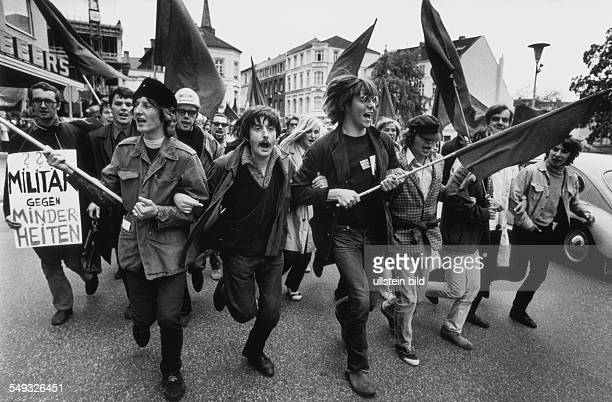 Germany Bonn May 1968 'March to Bonn' demonstration against the German Emergency Acts young people demonstrating with flags