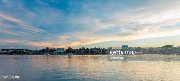 Germany, Bonn, view to Rhine river at twilight