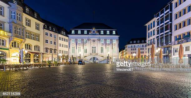 Germany, Bonn, view to town hall at marketplace before sunrise