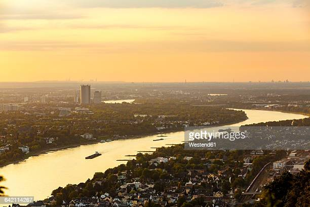 Germany, Bonn with Rhine river at sunset