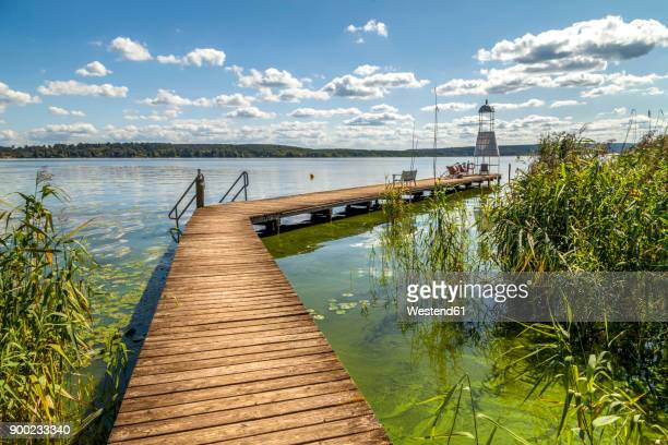 Germany, Brandenburg, Schwielowsee with boardwalk and viewing tower