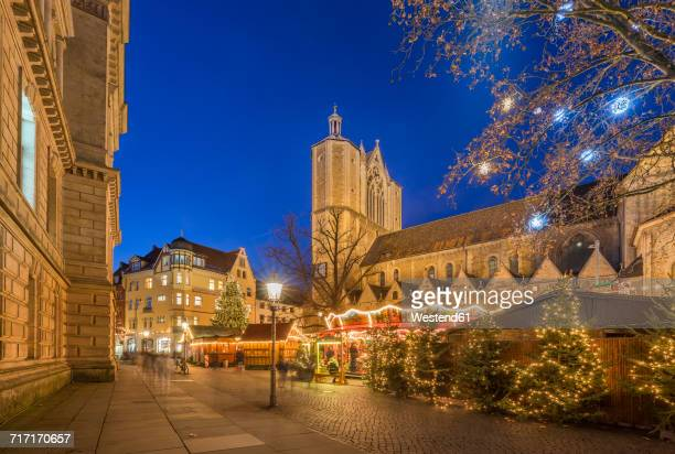 Germany, Braunschweig, Christmas market in the evening