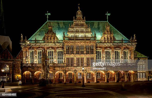 Germany, Bremen, view to illuminated Bremen City Hall at night