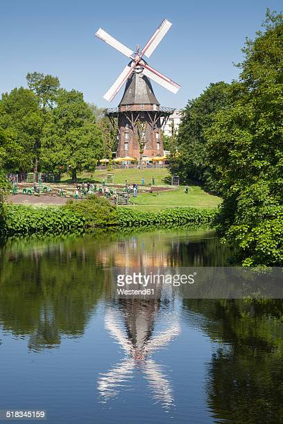 Germany, Bremen, view to old wind mill at city moat