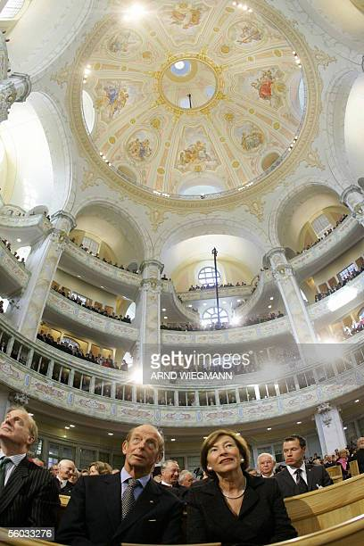 Britain's Duke of Kent sits beside Eva Koehler wife of German President Horst Koehler before the reconsecration ceremony of the Frauenkirche in the...