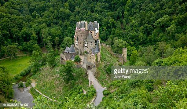germany, burg elitz, mediaeval hilltop fortress, elevated view - castle stock-fotos und bilder