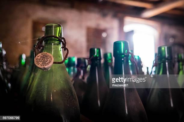 Germany, Burghausen, empty beer bottles at Raitenhaslach Abbey