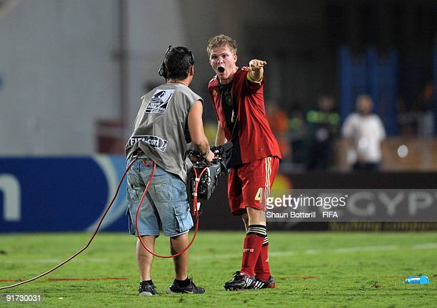 Germany captain Florian Jungwirth ivents his anger at the end of the FIFA U20 World Cup Quarter Final match between Brazil and Germany at the Cairo...