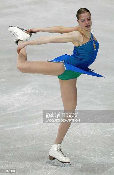 Carolina Kostner of Italy performs in the Ladies Short Program at the 2004 World Figure Skating Championships in Dortmund 26 March 2004 AFP PHOTO...
