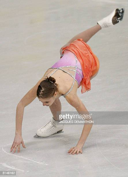 Carolina Kostner of Italy takes a fall during the Ladies Free Skating competition at the 2004 World Figure Skating Championships in Dortmund 27 March...