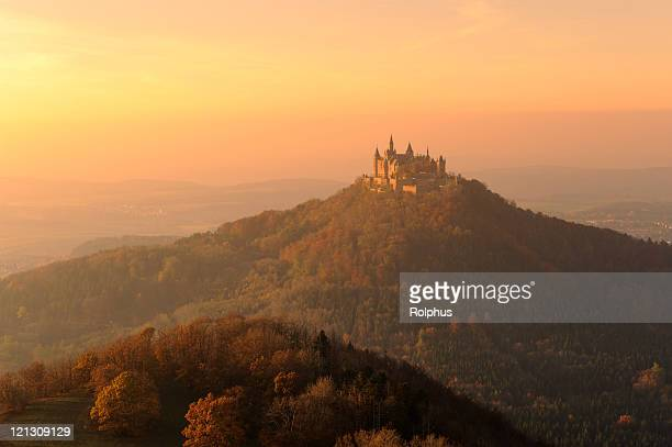 Germany Castle Hohenzollern Moody Fall Sunset Light Fog