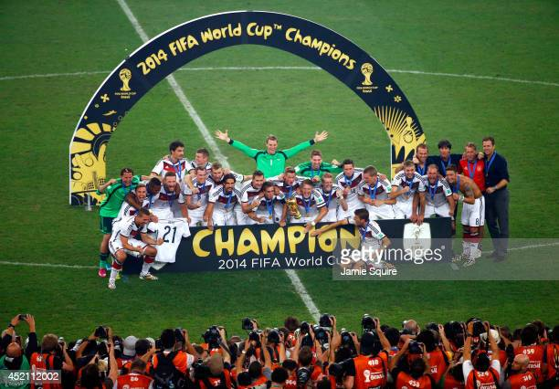 Germany celebrate after defeating Argentina 1-0 in extra time during the 2014 FIFA World Cup Brazil Final match between Germany and Argentina at...
