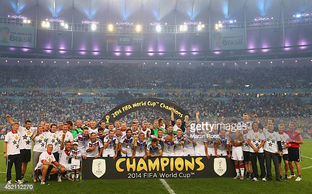 Germany celebrate after defeating Argentina 10 in extra time during the 2014 FIFA World Cup Brazil Final match between Germany and Argentina at...