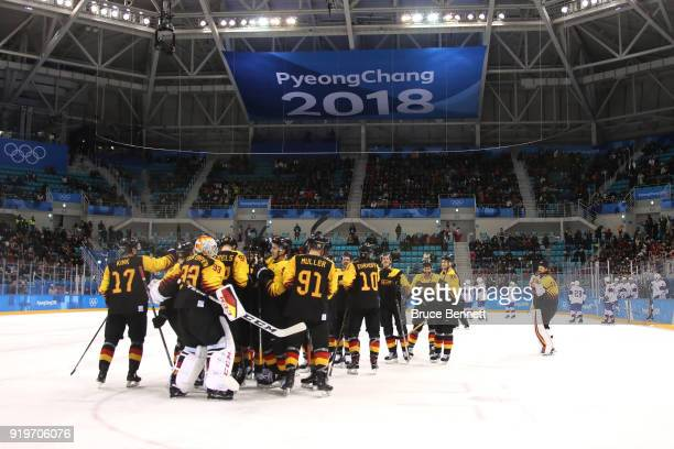 Germany celebrate after defeating Norway in a shootout during the Men's Ice Hockey Preliminary Round Group B game on day nine of the PyeongChang 2018...