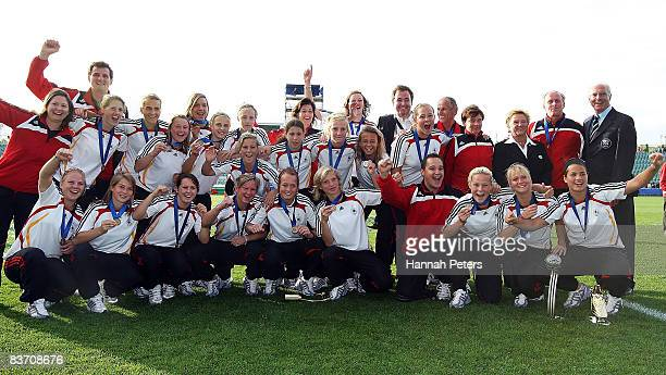 Germany celebrate after winning the FIFA U17 Women's World Cup Third and Fourth Playoff match between England and Germany at North Harbour Stadium on...