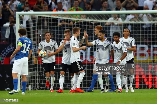Germany celebrate their fourth goal scored by IIkay Gundogan of Germany during the UEFA Euro 2020 Qualifier match between Germany and Estonia at Opel...