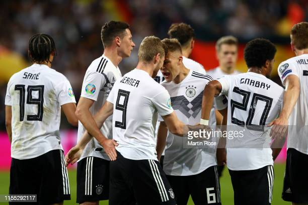 Germany celebrate their seventh goal during the UEFA Euro 2020 Qualifier match between Germany and Estonia at Opel Arena on June 11, 2019 in Mainz,...