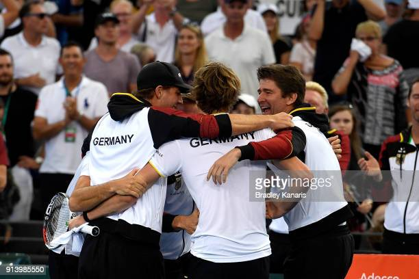 Germany celebrate victory after Alexander Zverev of Germany defeated against Nick Kyrgios of Australia during the Davis Cup World Group First Round...