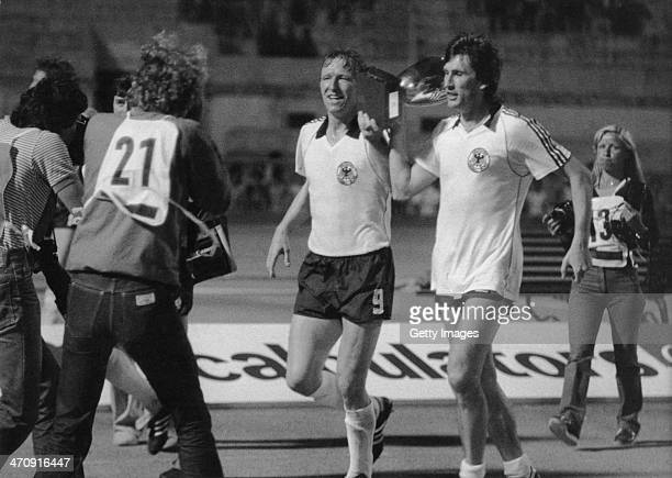 Germany celebrate win over Belguim during the UEFA European Championships 1980 Final match between Germany and Belguim held on June 22 1980 at the...