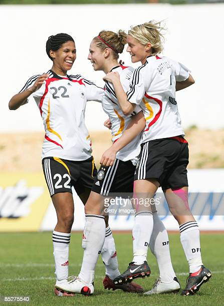 Germany celebrates 2nd goal scored by Kim Kulig during the Women Algarve Cup match between Germany and China at the Municipal stadium on March 6 2009...