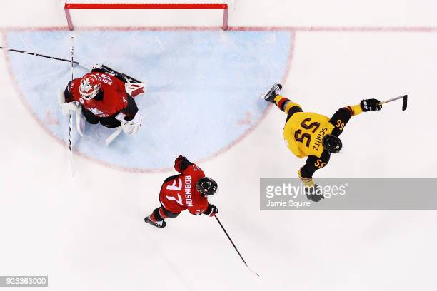 Germany celebrates after a goal against Canada during the Men's Playoffs Semifinals on day fourteen of the PyeongChang 2018 Winter Olympic Games at...