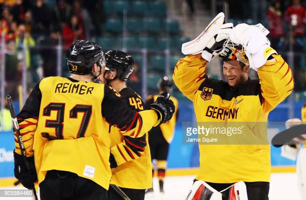 Germany celebrates after defeating Canada 4 to 3 during the Men's Playoffs Semifinals on day fourteen of the PyeongChang 2018 Winter Olympic Games at...