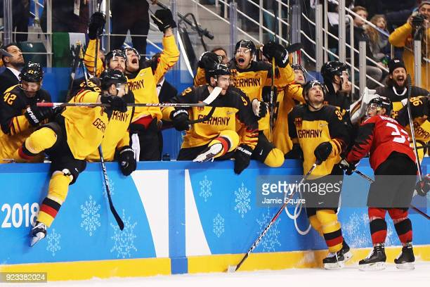 Germany celebrates after they defeated Canada 4 to 3 during the Men's Playoffs Semifinals on day fourteen of the PyeongChang 2018 Winter Olympic...